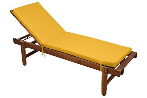 STOF - Materassino sfoderabile, 55 x 180 cm, 100% microfibra, fissaggio a clip (lettino prendisole non incluso), colore: giallo mostarda