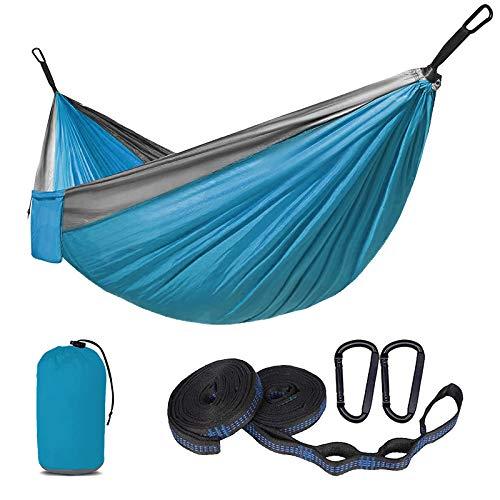 SUNNY GUARD Amaca da Campeggio Portatile con due cinghie per alberi Traspirante Nylon da Paracadute Amaca backpacking, viaggi,270x140cm Azure / Grigio