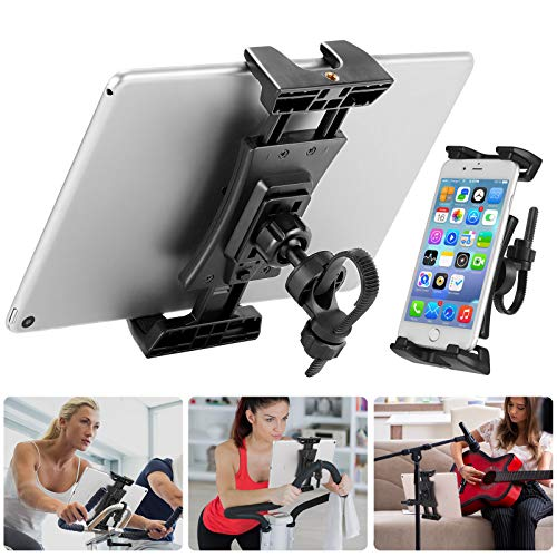 Supporto Tablet Cyclette, Porta Ipad per Bici Spinning/Tapis Roulant, 360° Regolabile Supporto Ipad Microfono per IPad Pro, IPad Mini, IPad Air e Tablet 4.7-12.9 Pollici