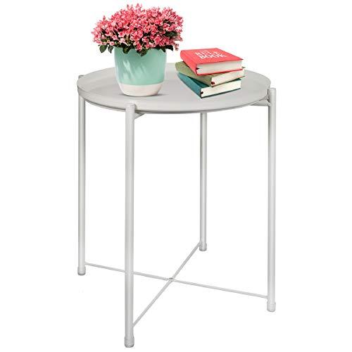 Tavolino rotondo da giardino per esterni, con vassoio rimovibile, per piante, tavolino da caffè, tavolino rotondo in metallo