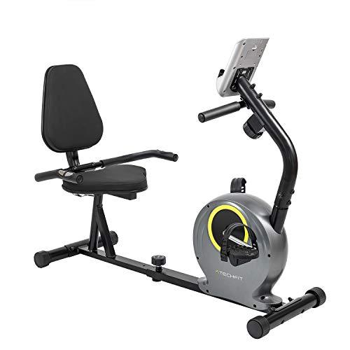 TechFit R300 Cyclette Orizzontale, Ideale per l'allenamento di Recupero a Casa, con Volano da 6 kg, Sedile Regolabile, Sensori di Pulsazioni e Monitor LCD