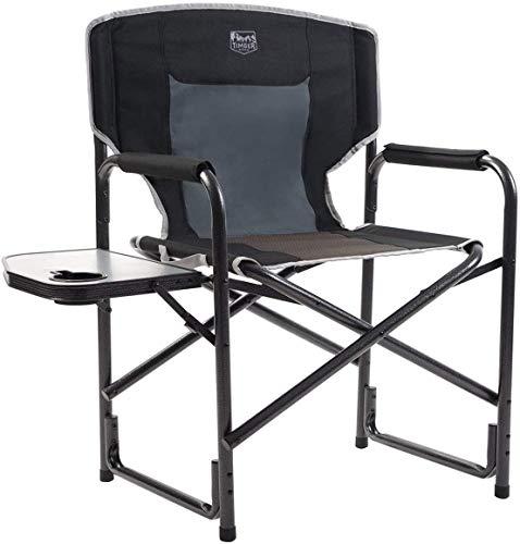 Timber Ridge Sedia da Regista Pieghevole Alluminio da Campeggio Portatile Leggera Supporta 135 kg con Tavolino Nero