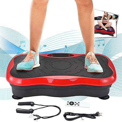 TOPQSC 3D Fitness Pedane Vibranti Allenarsi Macchine a Piattaforma, Crazy Fit Massage Esercizio Machine con Telecomando e Bande di Resistenza Display LCD Telecomando Bande Elastiche Max 120kg (Rosso)