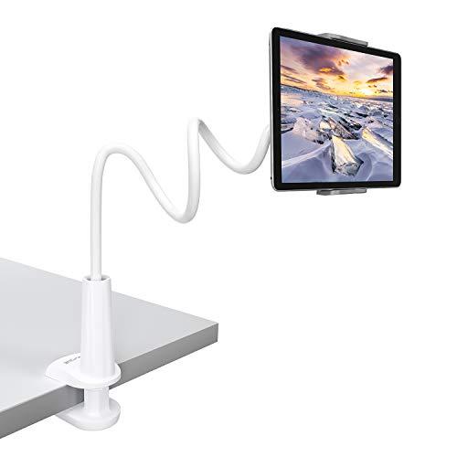 Tryone Supporto Tablet, Collo Oca Supporto Regolabile - Supporto per Tablet/iPad/iPhone/Nintendo Switch/Samsung Tab/Huawei Mediapad/Kindle e Altri, Lunghezza Complessiva 30 Pollici (Bianco)