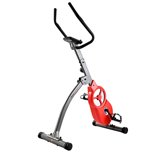 Ultrasport F-Bike 600 PRO cyclette per allenamento professionale da casa, ergometro, bicicletta con sensore per pulsazioni, bici fitness pieghevole, con App e supporto per Tablet, Grigo Scuro Rosso
