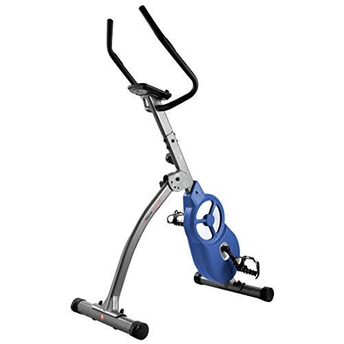 Ultrasport F-Bike 600 PRO cyclette per allenamento professionale da casa, ergometro, bicicletta con sensore per pulsazioni, bici fitness pieghevole, con App e supporto per Tablet, Grigo Scuro Blu