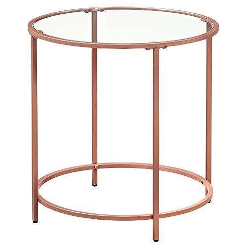 VASAGLE Tavolino da caffè, Tavolino Rotondo con Piano in Veltro Temperato e Struttura in Metallo Colore Oro Rosa, per Soggiorno, Balcone, Decorativo, Comodino, Oro Rosa LGT020A02
