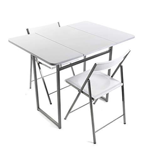 VERSA - Set Tavolo e Due sedie alla Cucina, terrazza, Giardino, Balcone o Un Tavolo da Pranzo e sedie di MDF, PVC e Metallo, Dimensioni (A x L x P) 80 x 70 x 100 cm, Colore: Bianco e Nero
