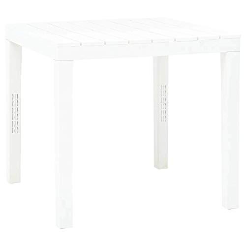 vidaXL Tavolo da Giardino Tavola da Esterni Tavolino per Patio Accessori da Giardino Mobili da Esterni Arredo Bianco 78x78x72 cm in Plastica