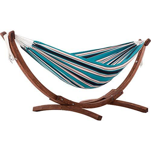 Vivere C8SPSN-SU Amaca Doppia Sunbrella con Supporto in massello di Pino Sunset, Solid Pine