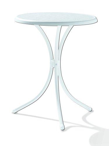 Winner 100 / W Tavolo da bistrò con Ø Mecalit-per-Piatto 60 cm, Tubo di Acciaio Bianco, Il Marmo Tavolo Arredamento Bianco