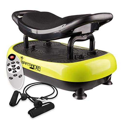 Wonder FIT – Pedana vibrante con seduta – Funziona a 1.100 giri al minuto per 1.100 contrazioni muscolari – Include telecomando e tenditori