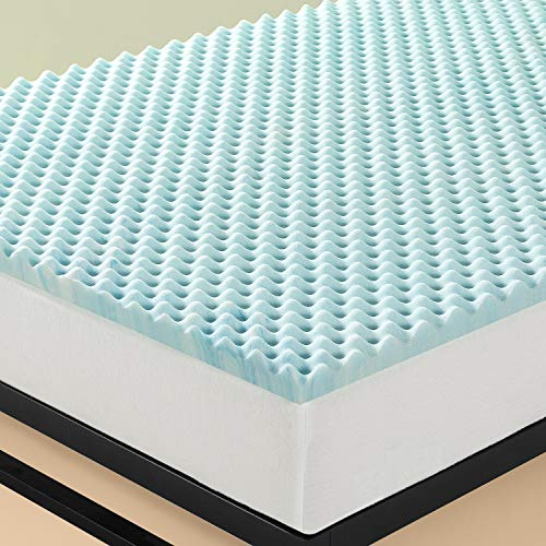 Zinus 3,8 cm Topper a flusso d'aria in memory foam Swirl Gel / Schiuma certificata CertiPUR-US/ Topper in a box/ 80 x 190 cm