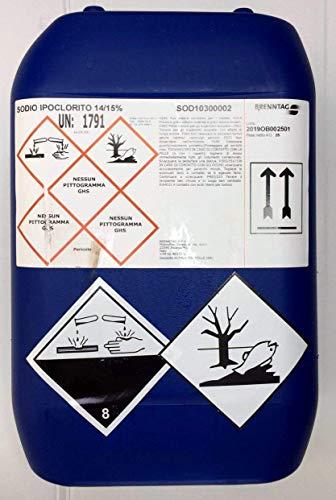 25 kg Cloro Liquido per Piscine Utilizzabile Anche con Pompe Dosatrici