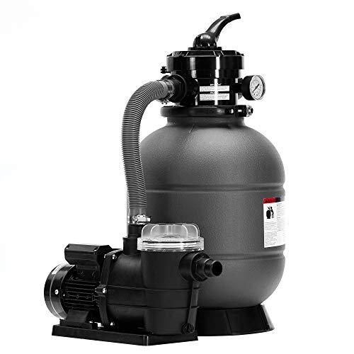 Arebos Impianto di filtraggio a sabbia con pompa | 400 W | 10200 l/h | volume del serbatoio fino a 20 kg | valvola a 4 vie con manometro | grigio