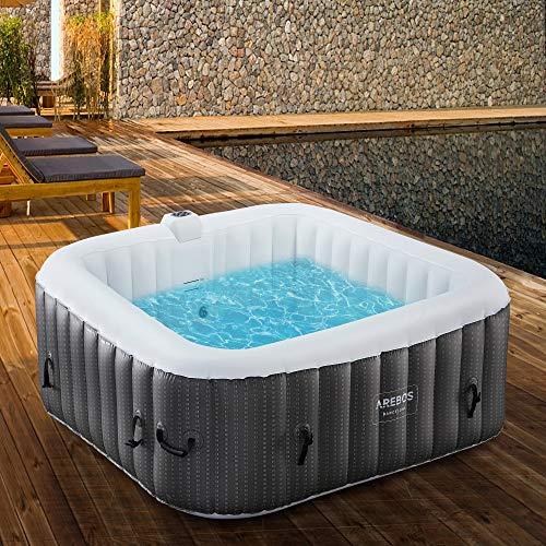 Arebos - Whirlpool Barcelona gonfiabile, per interni ed esterni, 6 persone,130 ugelli massaggianti, con riscaldamento, 910 litri, incl. copertura, Bubble Spa & Wellness
