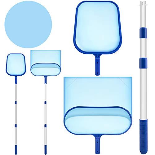 BEOOTCR 3 in 1 Kit Pulizia Piscina Asta per Retina, Rete per Foglie Profonda e Fine con Manico Alluminio Pool Skimmer per Pulizia Piscina Foglie e Detriti