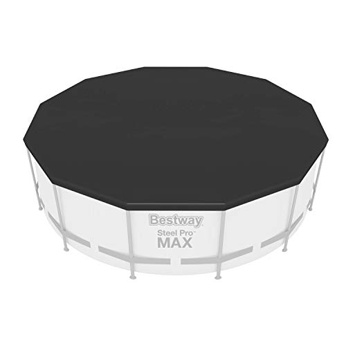 Bestway 58037-19 Flowclear - Telone di copertura in PVC, Ø 370 cm, Steel Pro MAX Ø 366 Hydrium Splasher Pool Ø 360 cm, colore: Grigio