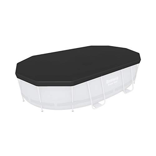 Bestway Flowclear 58425-19 - Telone di copertura in PVC, 418 x 230 cm, per piscine ovali Power Steel, 424 x 250 x 100 cm, colore: Grigio