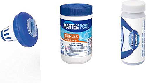 Bestway Nuova Super TRIPLETE Kit Mantenimento acque Piscina, 2019!!! Dispenser + 1 kg PASTIGLIE Tripla Azione+ 50 Strisce Test 3 Funzioni Cloro, PH e Alcalinità