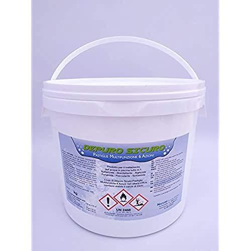 Depuro Sicuro kg 5 Cloro Multifunzione 6 Azioni pastiglie 200 Gr Battericida, Disinfettante, Alghicida, Fungicida, Flocculante, Schiarente, Stabilizzante del Ph