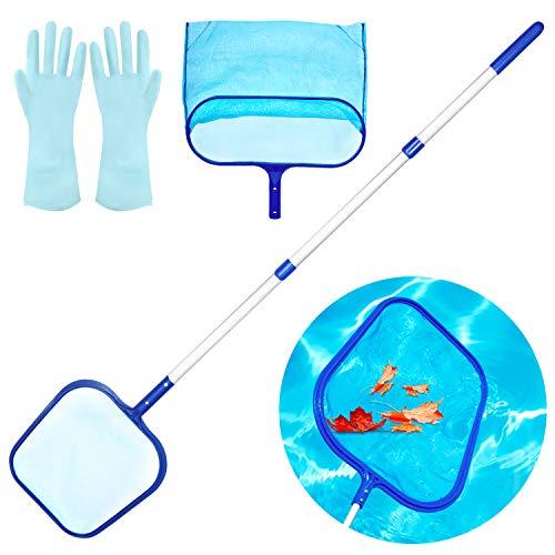 Familybox Kit per Piscina Asta per Retino, Include Skimmer Retina Raccogl Foglie, Set di Pulizia Piscina, con Due Reti e Polo Alluminio Lunga per Pulizia Piscina Foglie e Detriti