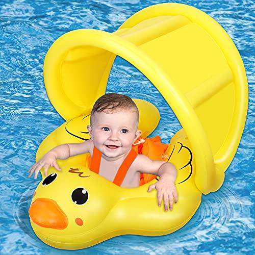 Jojoin Neonato Piscina,Gonfiabile Baby Piscina Galleggiante con Parasole Regolabile e Simpatico Design Animale, Seggiolino da Nuoto Sicuro Aiuta Il Bambino a Imparare a calciare per 6-36 Mesi