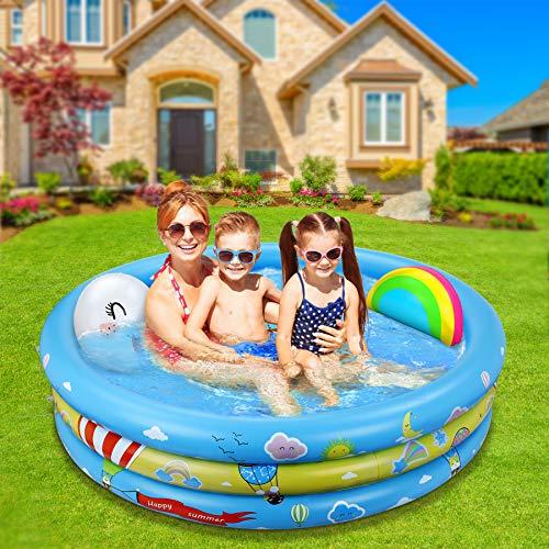 Jojoin Piscina Bambini, 120CM*30CM Piscina Gonfiabile Con Cuscini Arcobaleno e Smiley e Motivi Colorat Piscine Gonfiabili per Bambini Dentro fuori