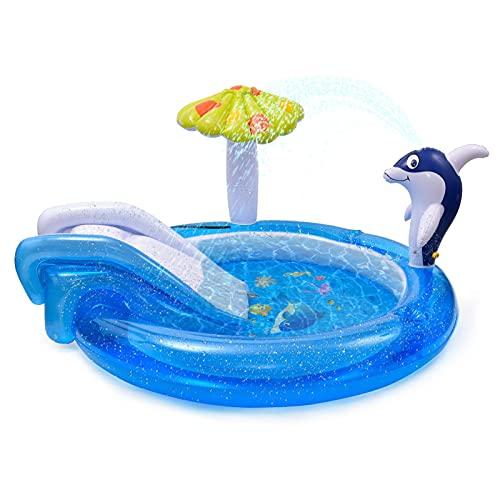 LeKing Centro di Gioco Acquatico con Scivolo, Piscina per Bambini da Giardino con l'irrigatore d'Acqua Dolphin Spray, Scivolo per Piscina, Piscina Gonfiabile