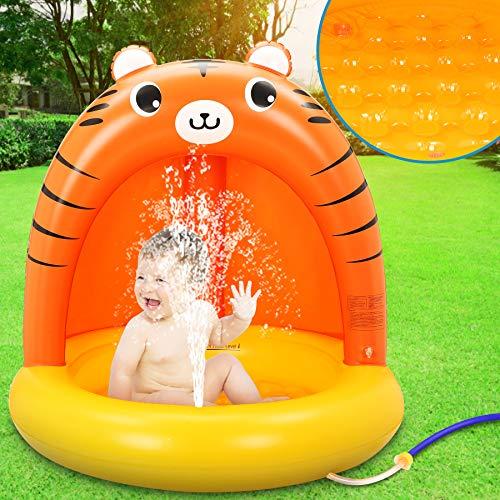 LETOMY Inflatable Swimming Pool Thick Piscinetta per Bambini con Parasole Piscina Spruzzo Tigre con Protezione Solare
