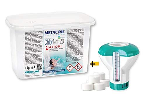 Metacril CHLOR Net 20 4 Azioni (1 kg) + Dosatore Galleggiante Cloro Piscina MULTIAZIONE in pastiglie da 20gr per Piscina e idromassaggio.Spedizione IMMEDIATA