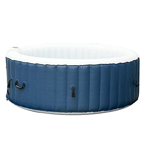 Outsunny Vasca Idromassaggio Gonfiabile da Esterno 100 Getti e Riscaldamento 40°C per 2-4 Persone Φ180x65cm Bianco e Blu