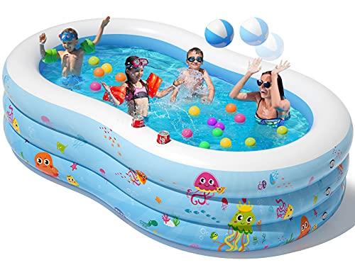 Peradix Piscina Gonfiabileo, 240 * 150 * 60 cm 3 Strati Addensati Grande Piscine d'Acqua, Fuori Giardino Piscina per Bambini Adult con Palline gonfiabili e 2 portabicchieri