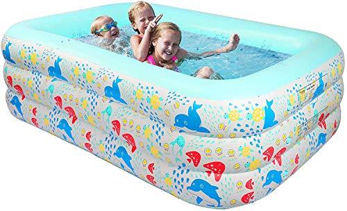 Piscina Gonfiabile Piscina Rettangolare 1.5M/1.8M/2.1M per famiglie per bambini e adulti, per intrattenimento, per cortili, feste acquatiche estive, all'aperto, giardino Blu