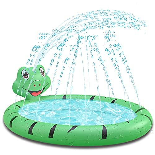 Piscina per Bambini, Piscinetta per i Piccolissimi a Forma di Rana con Spruzzo d'acqua , Gonfiabile Mini Centro di Giochi d'acqua da Interno e da Giardino