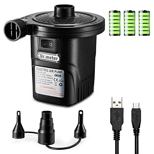 Pompa Elettrica, Dr.meter La Pompa USB Pompa Gonfiabile con 3 Ugelli Rimovibili per Materasso Gonfiabile, Bambini Piscina Anello di Nuoto