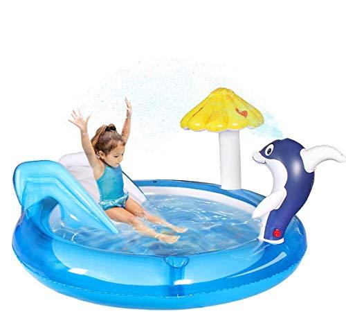 Qdreclod Centro di Gioco Acquatico con Scivolo, Piscina per Bambini da Giardino con l'irrigatore d'Acqua Dolphin Spray, Scivolo per Piscina