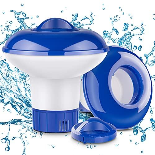 RenFox Dispenser Chimico, Dosatore di Cloro Galleggiante con Sfiati di Flusso Regolabili & Cappuccio di Chiusura, Cloro Diffusore per Interni & Piscine all'aperto, Vasca(2PCS)