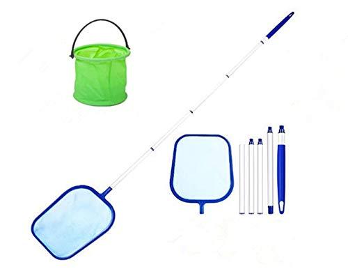 Retino per Piscina,Skimmer per Piscina con Rete a Maglia Fine con 5-Sezione Alluminio Lunga,Piscina Skimmer Kit per Pulizia Piscina Foglie e Detri