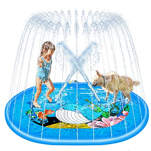 """rolimate Splash Pad Sprinkler per Bambini (Blu, 75 """"× 59""""), Tappetino da Gioco Gonfiabile per Esterni Splash per Bambini, Piscina Sprinkle Party Water Toys Adatto per Bambini e Animali Domestici"""
