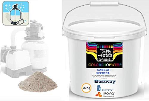 Sabbia Filtrante di Vetro per Piscina -Filtrazione maggiore della sabbia comune - Comodo Secchio da 25 kg