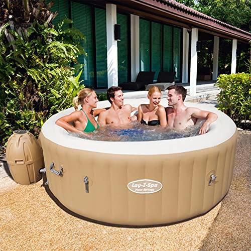 Vasca idromassaggio gonfiabile - Jacuzzi di lusso rotonda per 6 persone Ø1,96 m, ecopelle, pompa, riscaldamento, pompa dell'aria, filtro, copertura isolante, relax all'aperto, bolle (4 e 6 persone)