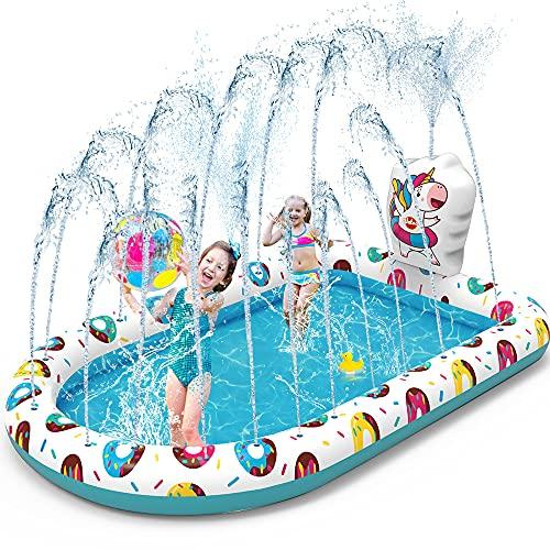 """Vatos Piscina Sprinkler per Bambini Gonfiabile Spruzzi Piscina 3 in 1 Acqua Giocattoli Spray Estate Divertimento 65 """"x 43"""" Sprinkler Splash Pool Pad per Bambini Piccoli 3 4 5+ Ragazzi Ragazze"""