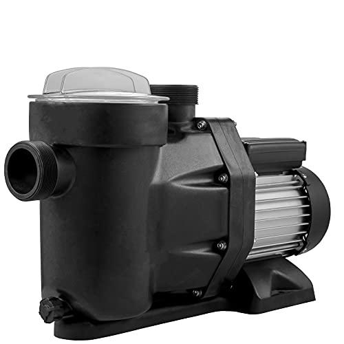 VEVOR Pompa ad Acqua a Pressione Potenza 1 HP / 750 W, Max. Portata 19200 L/H Pompa per Piscina con Cavo 1,5 m, Elettropompa Pompa Filtro Piscina velocità da 3450 RPM per Interrato e Fuori Terra