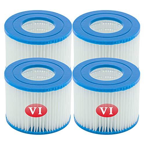WRYIP Cartucce VI Filtro Piscina per Lay-Z-Spa,Cartuccia per Taglia VI Compatibile con Le Pompe per Bestway, per Miami, Vegas, Palm Springs, Monaco (4 Pz)