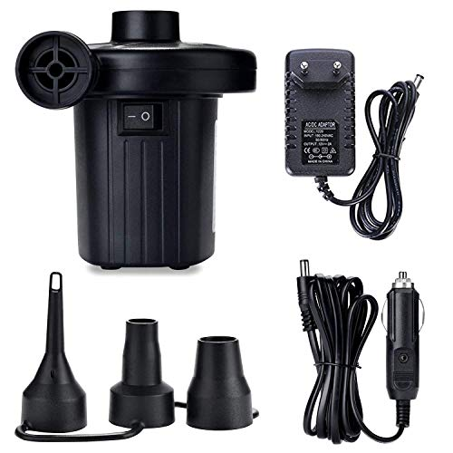 ZStarlite Pompa ad aria elettrica portatile, pompa ad aria per materassi gonfiabili / deflattore per piscine, barche, giocattoli gonfiabili o campeggio, con 3 accessori, 240 V AC / 12 V DC