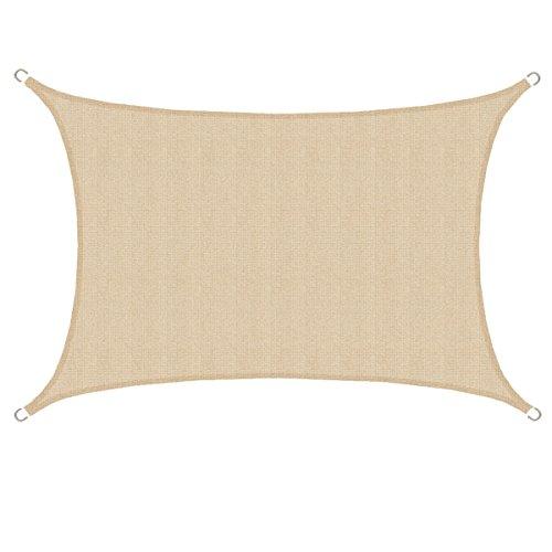 AMANKA Tenda da Sole UV - 3x4 m HDPE Rettangolare Telo di Protezione Solare Balcone Giardino Beige