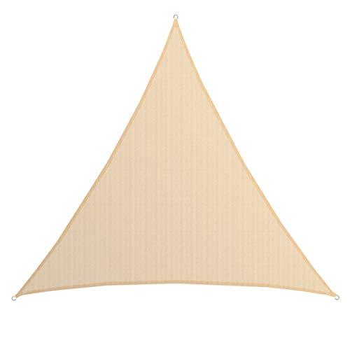 AMANKA Tenda da Sole UV - 7x7x7 m Triangolo HDPE - Telo di Protezione Solare Balcone Giardino Beige
