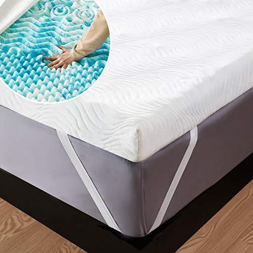 Bedsure Topper Matrimoniale Memory Foam - Correttore Materasso 160x190 con Altezza 7cm, Materassi Sottili a 7 Zone con Rivestimento Traspirante e Lavabile