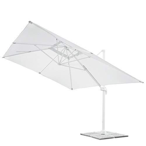 Danieli Ombrellone da Giardino 3x3 | Struttura in Alluminio Bianca con Chiusura a Soffietto | Telo in Poliestere da 200 gr | Dimensione del Parasole 3x3 mt